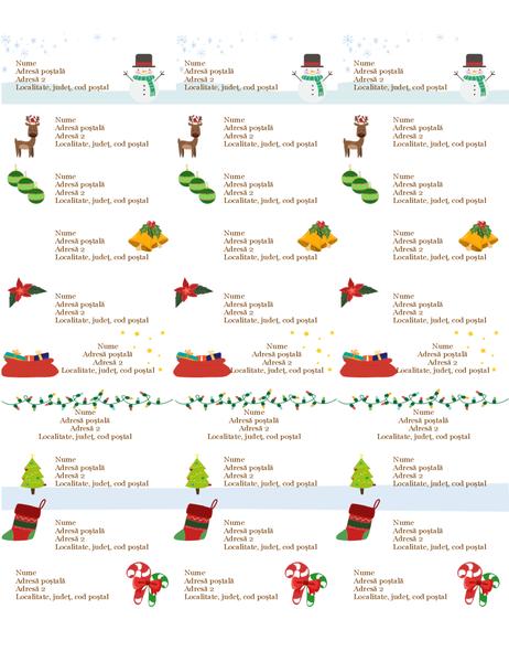 Etichete pentru cadouri (proiectare Spiritul Crăciunului, 30 pe pagină, sunt compatibile cu Avery 5160)