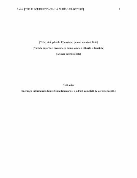 Raport în stilul APA (ediția 6)