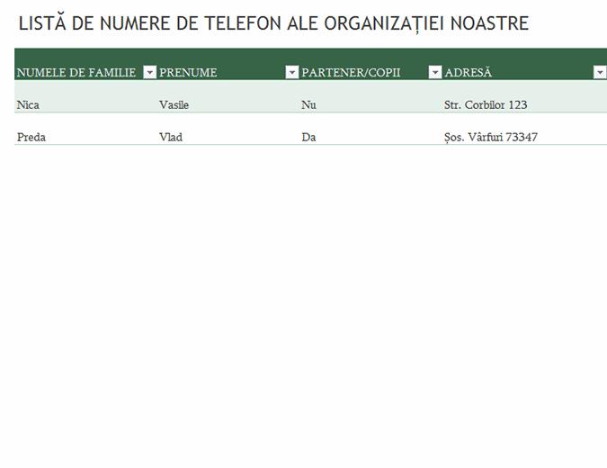 Listă de numere de telefon ale angajaților