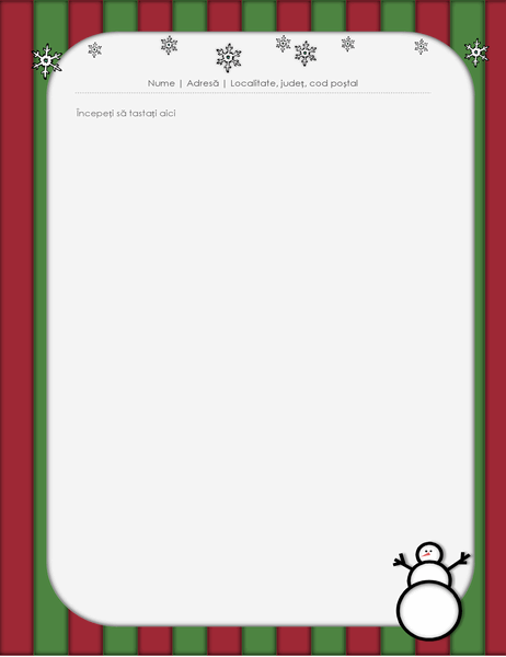 Foaie de scris de sărbători (cu om de zăpadă)