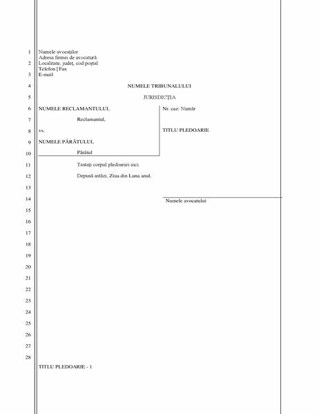 Document de cerere legală (28 de linii)