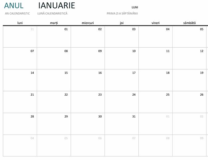 Calendar pe o lună pentru orice an