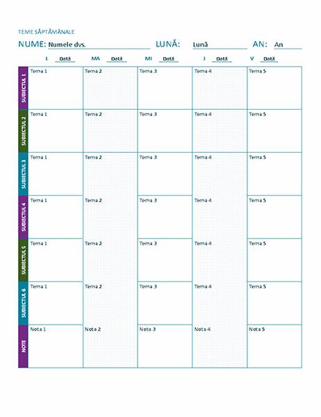 Programul temelor săptămânale (color)