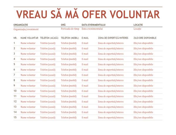 Fișă de înscriere voluntari