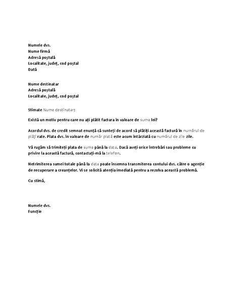 Scrisoare de solicitare a plății pentru un cont cu termen depășit