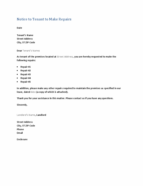 Notificare către chiriaș pentru a face reparații (scrisoare formular)