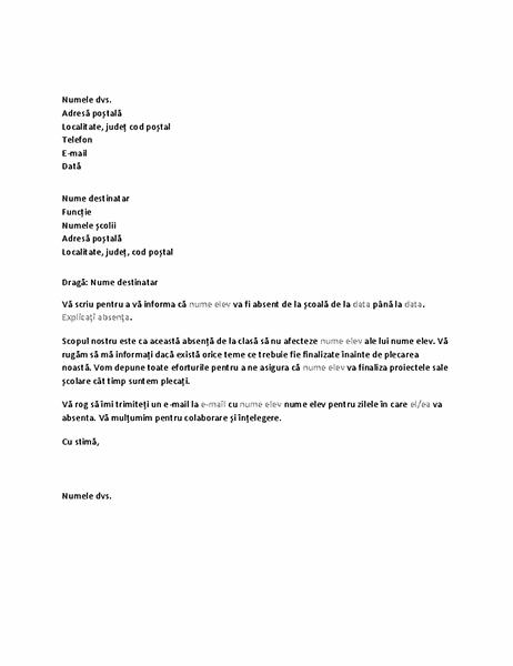Scrisoare prin care este notificată școala de absența viitoare a unui elev