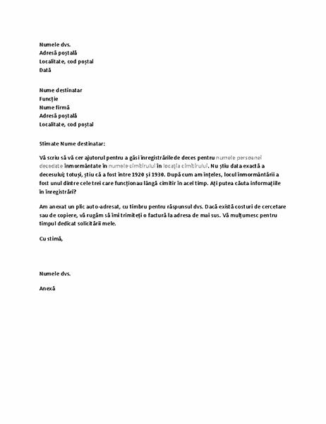 Scrisoare ce solicită înregistrări ale genealogiei pentru o firmă de servicii funerare