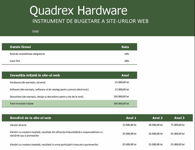 Buget pentru site-ul web
