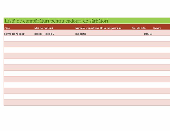 Listă de cumpărături pentru cadouri de sărbători