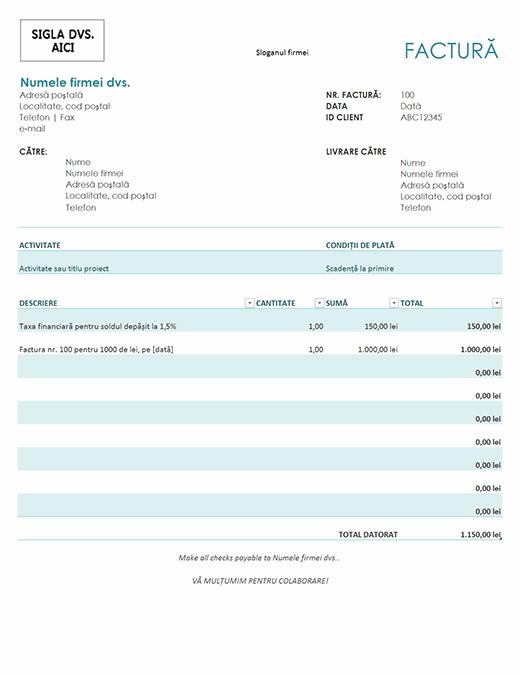 Factură cu taxe financiare (albastră)
