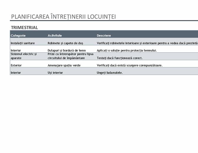Planificarea întreținerii locuinței și listă de activități