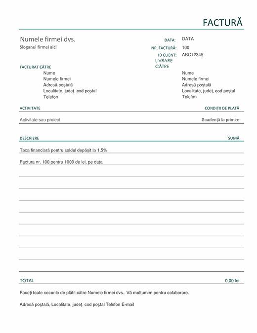Factură cu taxe financiare (simplă)