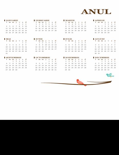 Calendar anual cu păsări (luni-duminică)