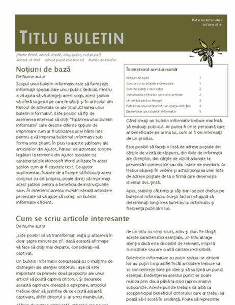 Buletin informativ (2-col., 6-p., spațiu timbrare)