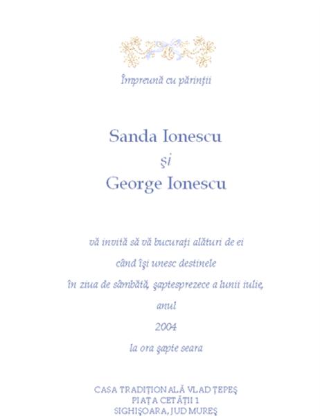Invitație de nuntă (tradițională)