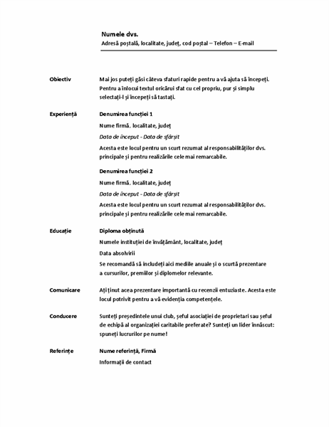 CV cronologic (proiect minimalist)