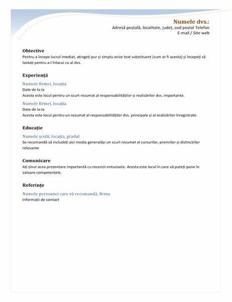 CV cronologic