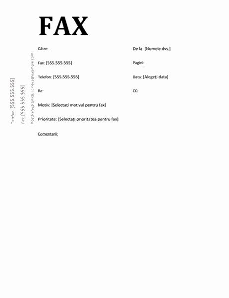 Pagină de însoțire fax (design academic)