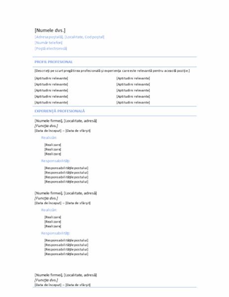 CV cronologic (temă Linie albastră)