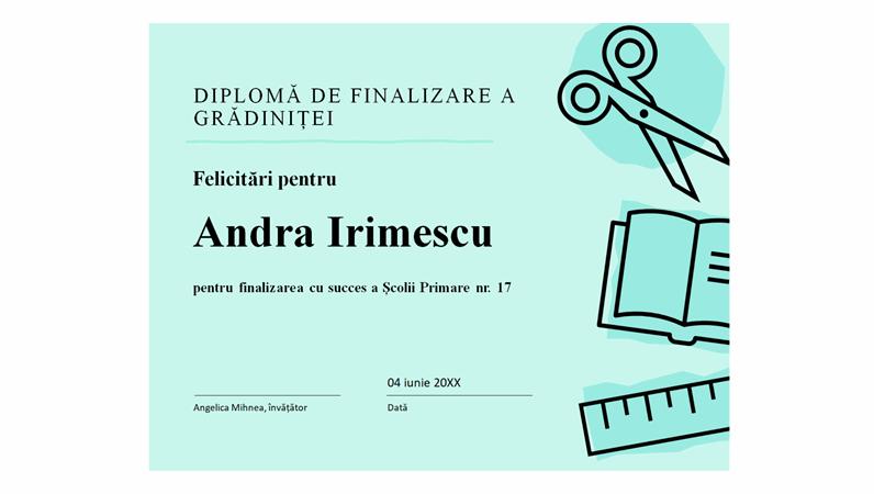 Diplomă pentru finalizarea grădiniței