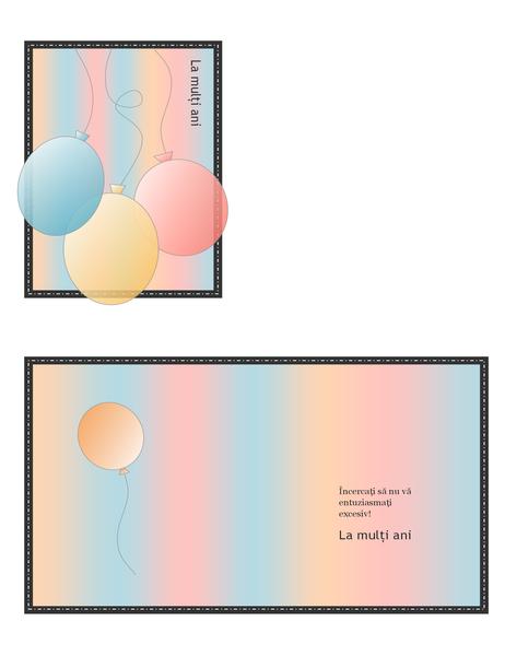 Felicitare pentru ziua de naștere (cu baloane și dungi, pliată în patru)