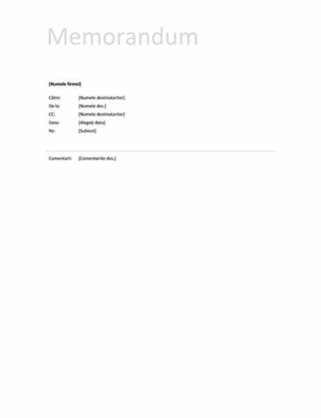 Memorandum (model simplu)