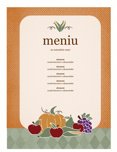 Meniu (design cu tema recoltă)