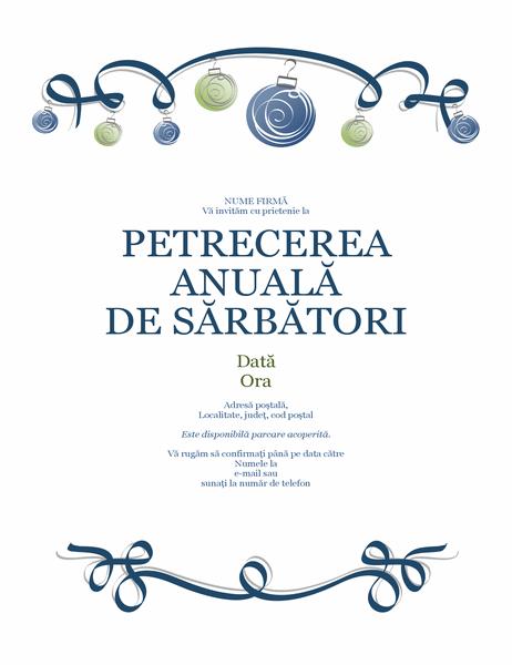 Fluturaș pentru petrecerea de sărbători, cu ornamente și panglică albastră (proiectare oficială)