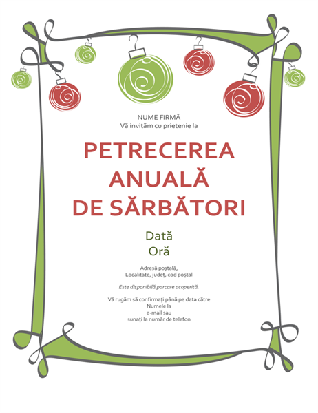 Invitație la petrecerea de sărbători, cu ornamente și bordură buclată (proiectare informală)