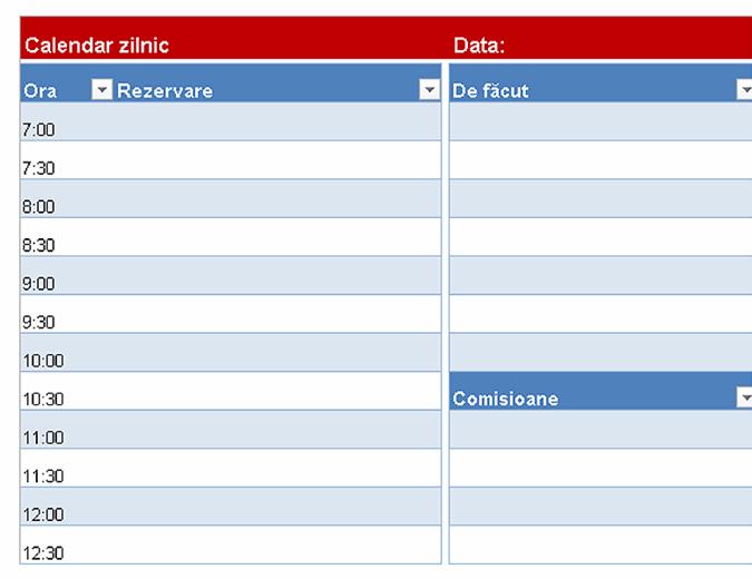 Calendar zilnic necompletat