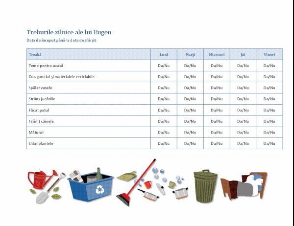 Listă de verificare pentru treburile casnice ale unui copil