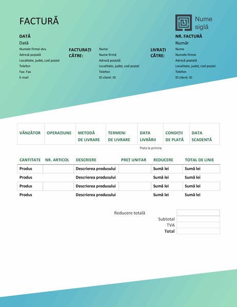 Factură vânzări (proiectarea Gradient verde)