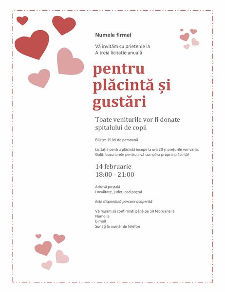 Invitație la licitația pentru plăcintă de Ziua îndrăgostiților