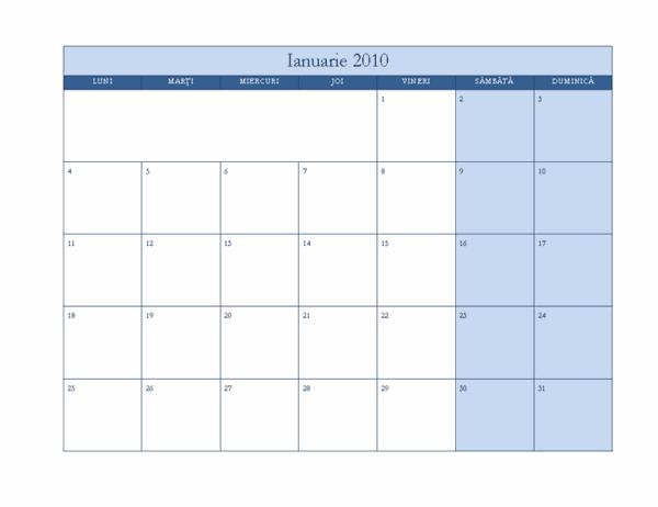 Calendar 2010 (Model clasic albastru, Luni-Duminică)