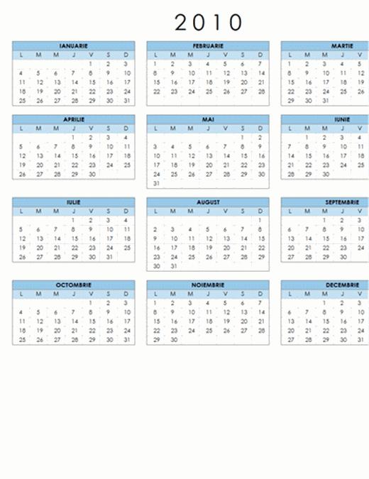 Calendar 2010 (1 pag., tip vedere, Luni-Duminică)