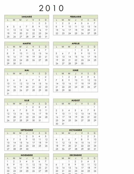 Calendar 2010 (1 pag., tip portret, Luni-Duminică)