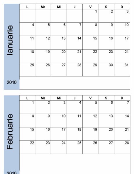 Calendar 2010 cu bordură albastră (6 pag.)
