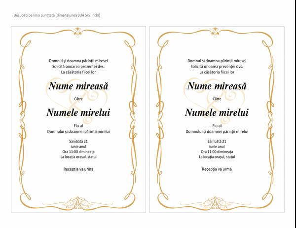 Invitații de nuntă (proiectare cu inimioare, dimensiune A7, 2 pe pagină)