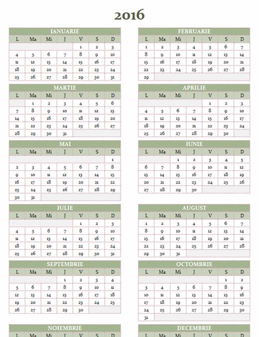 Calendar anual 2016-2025 (luni-duminică)