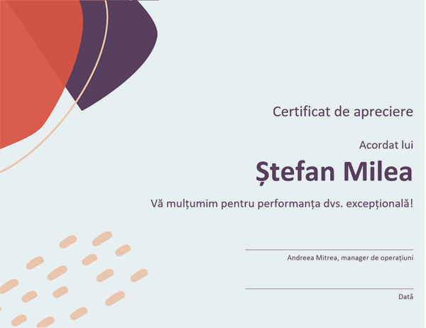 Certificat de recunoaștere pentru specialist în administrație