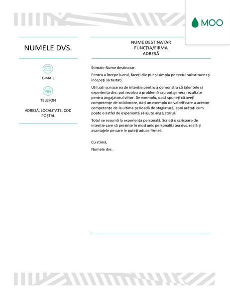 Scrisoare de intenție creativă, proiectată de MOO