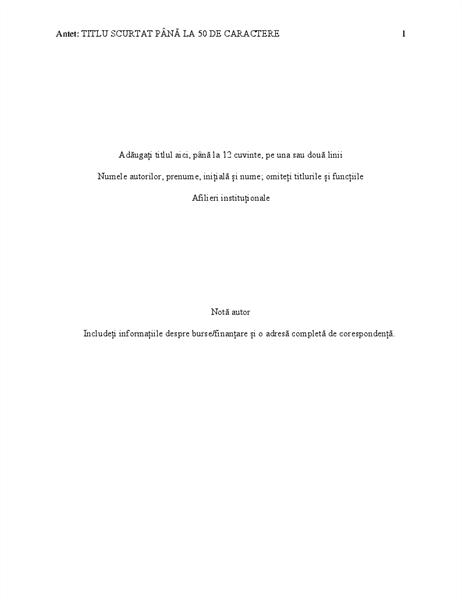 Document în stil APA