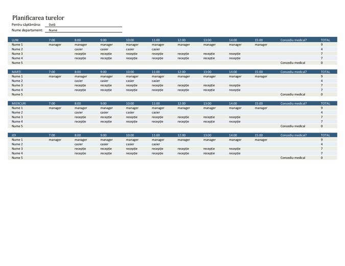 Planificarea turelor angajaților