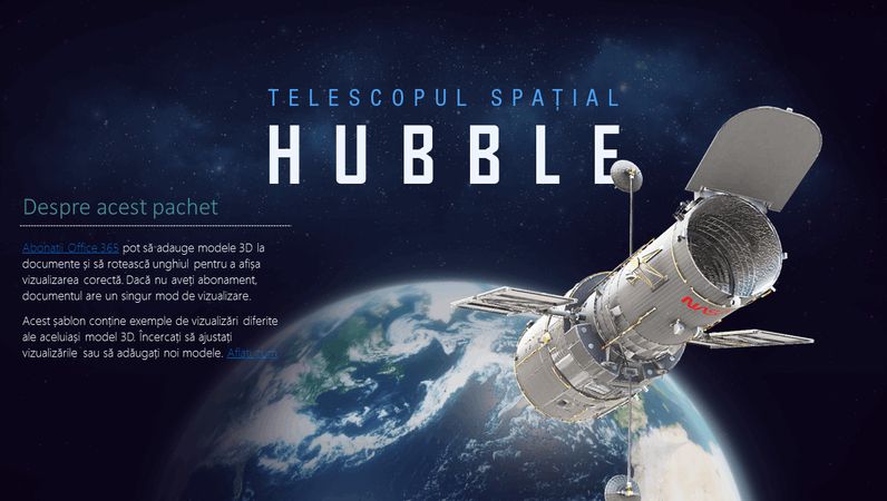Prezentare 3D PowerPoint (model telescop Hubble)