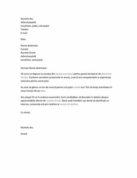 Scrisoare de intenție pentru CV pentru un post temporar