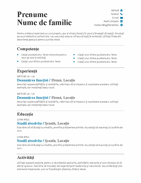 CV echilibrat (proiect modern)