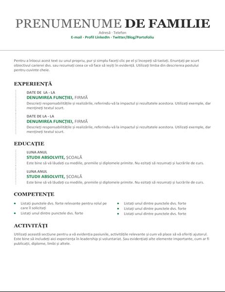 CV cronologic modern