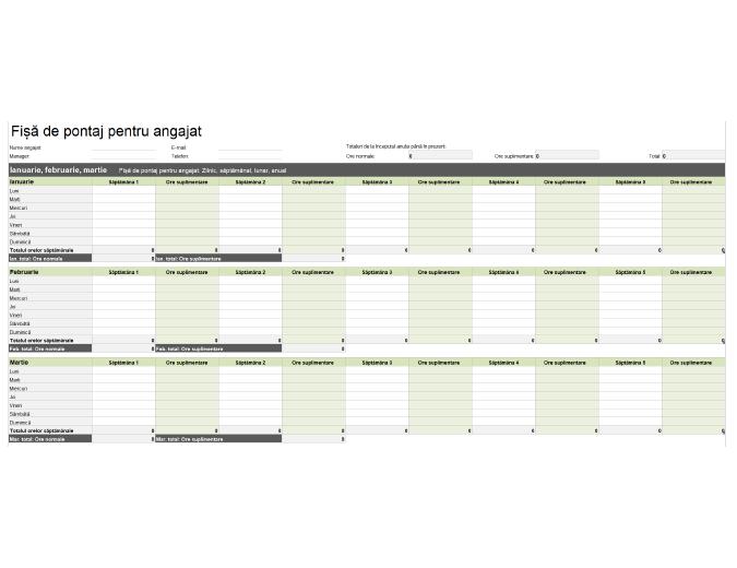 Fișă de pontaj pentru angajat (zilnică, săptămânală, lunară și anuală)