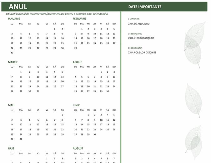 Calendar pentru firme (orice an, luni-duminică)